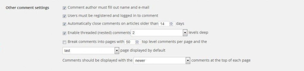 wordpress comment spam settings